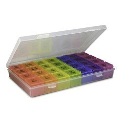 SPACARE Weekly Pill Organizer 7Colors in Transparent Box 030