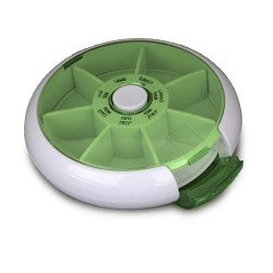 SPACARE Weekly Circular Pill Organizer with Side Open White&Green 033