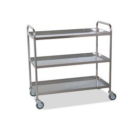 Trolley Stainless Three Shelves W/Edge