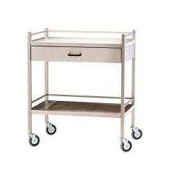 Trolley Stainless Tow Shelves W/Drawe